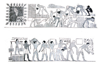 An engraved illustration of Ancient egyptians who build the construction from a vintage book Encyklopedya Powszechna, 1890, Warsaw