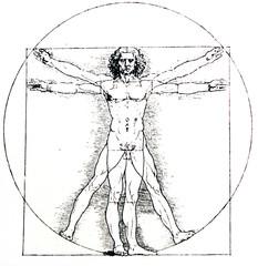 Vetruvian human, Measures of Human body by Leonardo da Vinci, illustrated in a vintage book,  Leonard de Vinci, Eugene Muntz, 1899, Paris