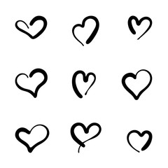 Vector Illustration. Set of nine hand drawn heart. Handdrawn rough marker hearts isolated on white background. Illustration for your graphic design