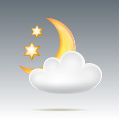 Semimonthly and stars behind cloud in night sky
