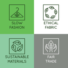 Vector set of linear icons and badges related to slow fashion - ethical fabric, sustainable materials, fair trade