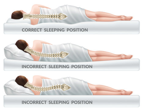Correct and incorrect sleeping poses. Right and wrong position spine on different mattresses. Caring for health of back. 3d realistic vector illustration.
