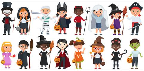 Cute Halloween little kids set vector illustration. Wall mural