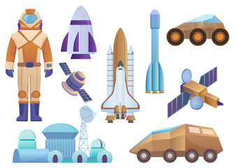 Spacecrafts, colony building, rocket, cosmonaut in space suit, sattelite and mars robot rover set. Vector galaxy space set isolated on the white background.