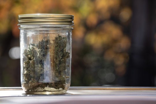 Close up Homegrown Marijuana Buds in Glass Jar Outdoors. Cannabis Flowers in Sealed Container Bokeh Background with Copy Space.