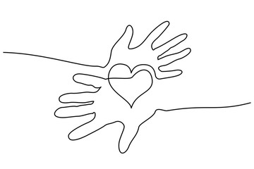 Continuous one line drawing. Abstract hands woman and man holding heart. Vector illustration