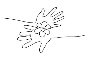 Continuous one line drawing. Abstract hands holding flower. Vector illustration