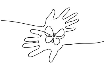 Continuous one line drawing. Abstract hands holding butterfly. Vector illustration