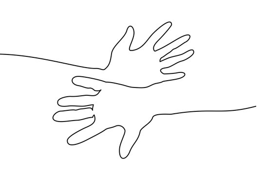 Continuous one line drawing. Abstract hands togehter. Vector illustration