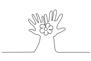 Continuous One Line Drawing Abstract Hand Holding Flower Vector