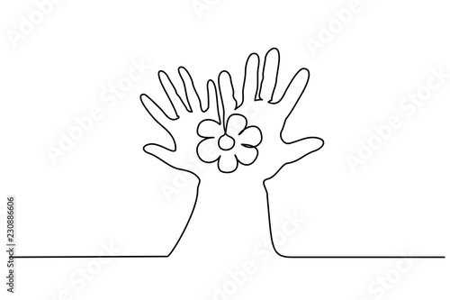 Continuous One Line Drawing Abstract Hands Holding Flower Vector