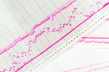 roll, red lines on paper, vibrations, recorder, industrial,pattern,closeup,technology,red,work,industry,tool,data,electrical,test