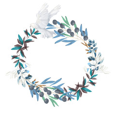 olive and dove floral illustration - olive branch frame / wreath for wedding stationary, greetings, wallpapers, fashion, backgrounds, textures, DIY, wrapping, postcards, logo, branding,