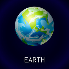 Earth space icon. Cartoon of earth space vector icon for web design