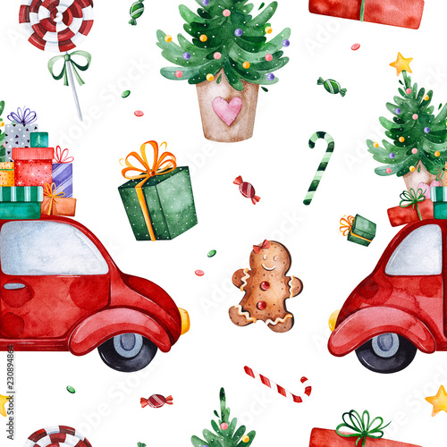 bright seamless pattern with christmas treecandyred retro cargift and more