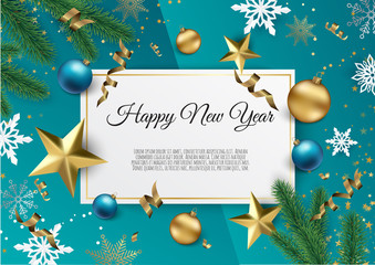 Christmas and New Year background with Gold glitter texture. Xmas card. Vector Illustration.