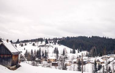 Poster Europe de l Est Winter landscape in the Carpathian mountains in Eastern Europe