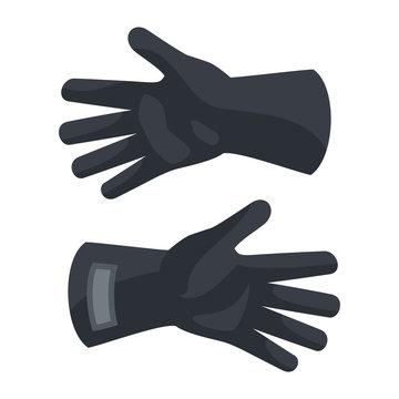 Black protect gloves icon. Flat illustration of black protect gloves vector icon for web design