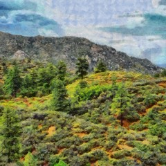 Hand drawing watercolor art on canvas. Artistic big print. Original modern painting. Acrylic dry brush background. Beautiful mountain landscape. Travel forest valley view. Exotic resort. Wild nature