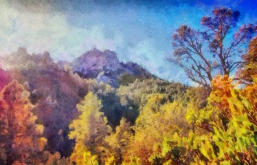 Hand drawing watercolor art on canvas. Artistic big print. Original modern painting. Acrylic dry brush background. Beautiful mountain landscape. Travel canyon view. Forest sunset. Wild nature