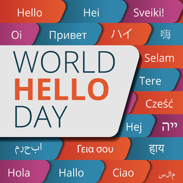 World hello day concept background. Cartoon illustration of world hello day vector concept background for web design