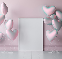 Mock up poster in interior background with pastel balloons, 3d render