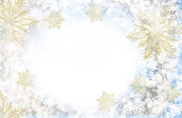 Winter snow and snowflake border frame for invitation, greeting card, poster, background in soft colors