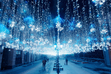 Night winter Moscow in the snow. Nikolskaya street decorated for the New year. Fotomurales