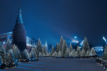 Night winter Moscow in the snow. Manege square decorated for the New year.