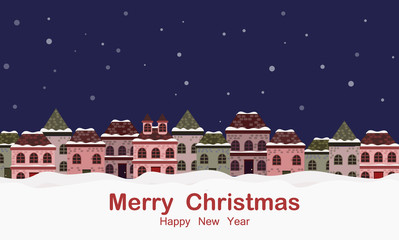 Christmas greeting card banner background with winter landscape and houses.  vector illustration