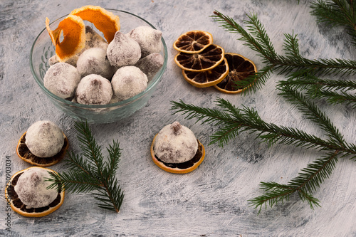 Chocolate Candies Dessert For Decoration Of A Festive Table Slices