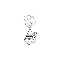 Flying house, baloon icon. Element of hand drawn Imaginary house icon for mobile concept and web apps. Hand drawn Flying house, baloon icon can be used for web and mobile
