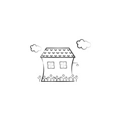 House, cloud, flowers icon. Element of hand drawn Imaginary house icon for mobile concept and web apps. Hand drawn House, cloud, flowers icon can be used for web and mobile