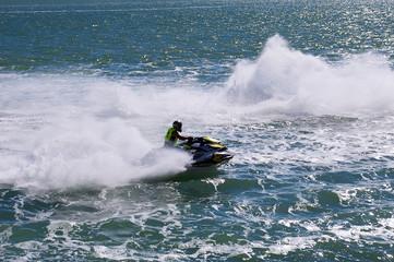 carreras de motos de agua en la bahia de Cadiz capital, Andalucia. España. Europa