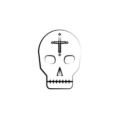 Mexican skull icon. Element of dia de muertos icon for mobile concept and web apps. Hand drawn Mexican skull icon can be used for web and mobile