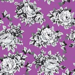 Shabby roses vintage seamless pattern