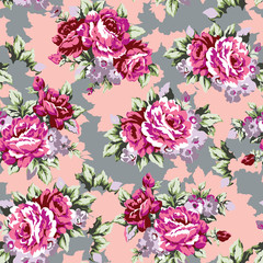 Shabby roses vintage seamless pattern