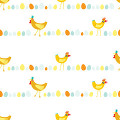 Colorful seamless repeat pattern of yellow and orange chickens in horizontal lines on a white background
