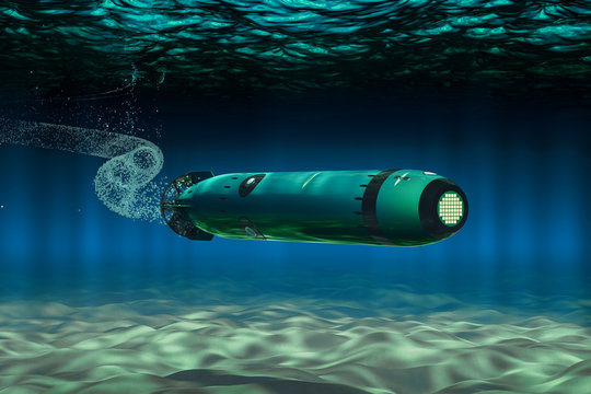 Torpedo Underwater, 3D rendering