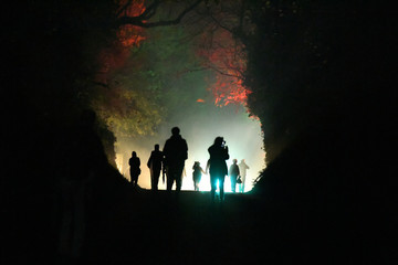 People take part in a procession up the hill of Tlachtga as part of the Flame of Samhain festival, in Athboy