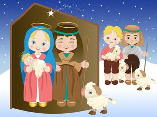 Nativity with shepherds