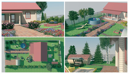 Design of the garden. A set of illustrations on the landscape design of the garden.