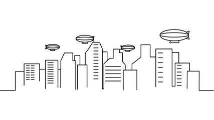 City landscape template. Thin line City landscape. Cityscape, airship Isolated outline illustration. Urban life Vector illustration