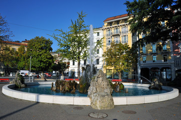 Lugano, Switzerland, Lugano main square, the center of Lugano