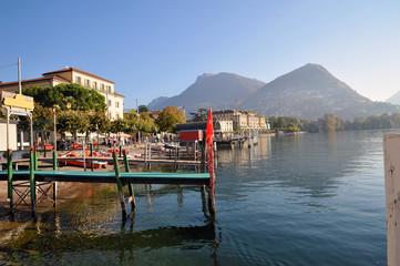 Lugano, Switzerland, Lugano lake,  typical boats