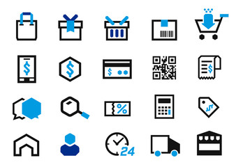 Shopping at market, pay money and delivery product online in edge icon style. e-commerce business.