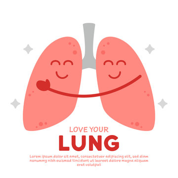 Love your healthy lung cartoon vector illustration