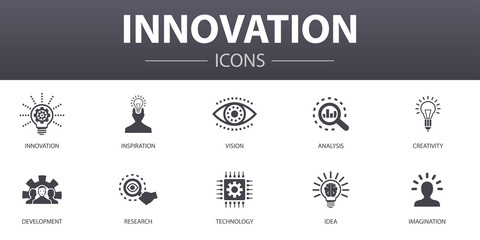 Innovation simple concept icons set. Contains such icons as inspiration, vision, creativity, development and more, can be used for web, logo, UI/UX