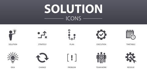 Solution simple concept icons set. Contains such icons as strategy, plan, execution, timetable and more, can be used for web, logo, UI/UX