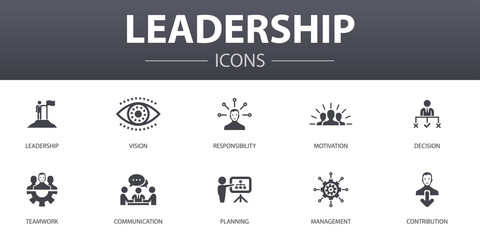 Leadership simple concept icons set. Contains such icons as responsibility, motivation, communication, teamwork and more, can be used for web, logo, UI/UX